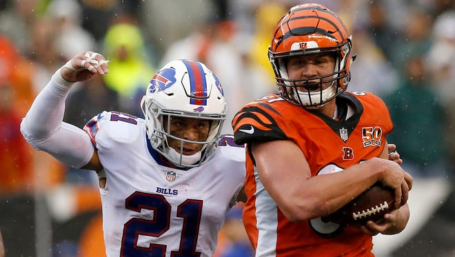 Cincinnati Bengals tight end Tyler Kroft (81) makes the turn after a catch over the middle in the fourth quarter of the NFL Week 5 game between the Cincinnati Bengals and the Buffalo Bills at Paul Brown Stadium in downtown Cincinnati on Sunday, Oct. 8, 2017. The Bengals won 20-16 and head into the bye week with a 2-3 record.