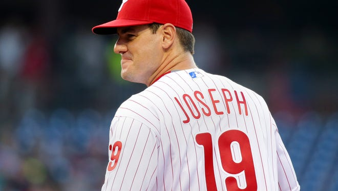 The Phillies' Tommy Joseph smiles in the second inning during the game against the Cincinnati Reds at Citizens Bank Park on Friday. Joseph made his Major League Baseball debut against the Reds, getting called up before Friday's game.