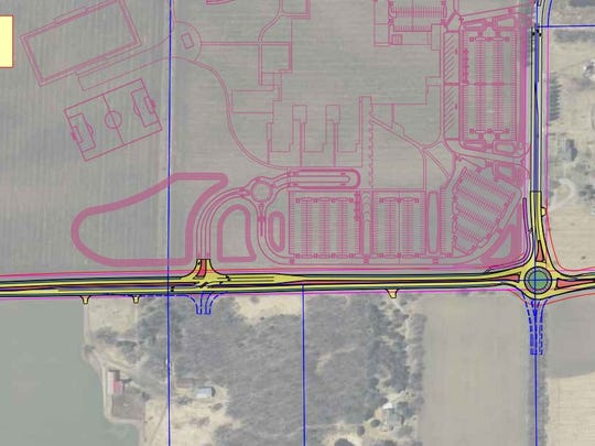 The concept layout shows tentative designs for a revamped Pinecone Road North in Sartell.