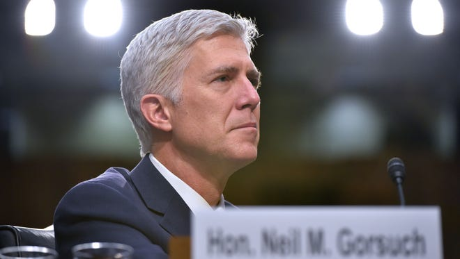 Neil Gorsuch testifies before the Senate Judiciary Committee on March 22, 2017.