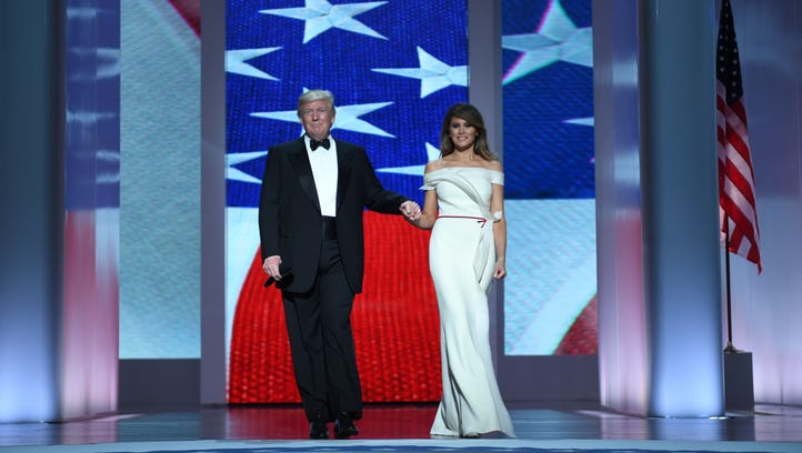 President Donald Trump and the first lady Melania Trump enter the Liberty Ball on Jan. 20,