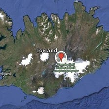The marker indicates the location of Vatnajokull glacier, which sits above Bardarbunga volcano.