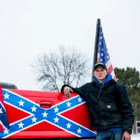 Bay City school closes after Confederate flag-bearing trucks gather outside it