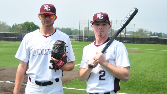 Talawanda High School graduates Howie Smith, left, and Nate Lynch were reunited with the Earlham College baseball team, where Smith set the school record for pitching victories, and Lynch for hits and stolen bases.