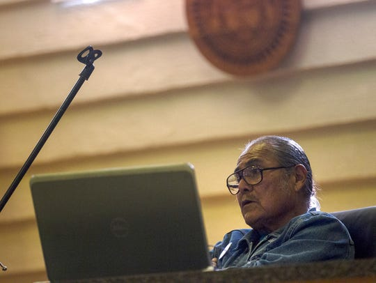"""Duane """"Chili"""" Yazzie presides over a meeting about"""
