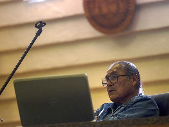 "Duane ""Chili"" Yazzie presides over a meeting about the Northern Navajo Fair on Tuesday, Sept. 5 ,2017 at the Shiprock Chapter House."