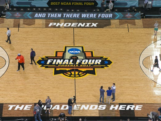 The NCAA Final Four basketball court is seen from above