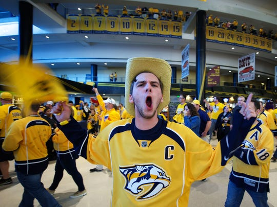 Austin Rich celebrates after the Predators won game