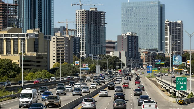 Traffic flows on Interstate 35 on Wednesday. Prior to the pandemic, commuting times were continuing to climb in the Austin metro area last year, according to the U.S. Census Bureau.