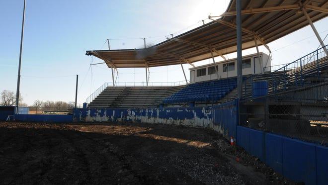 Renovations to Dean Evans Stadium, including artificial turf, has been started by ATG Sports of Andover Construction. The cost of new artificial turf at Salina's premiere baseball facility is $1,025,300.
