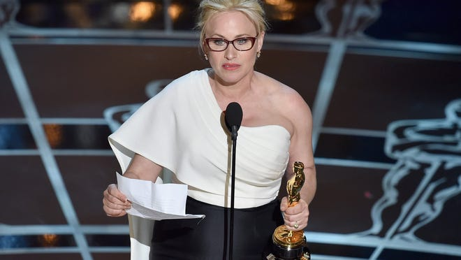 "Patricia Arquette accepts the award for best actress in a supporting role for ""Boyhood."""