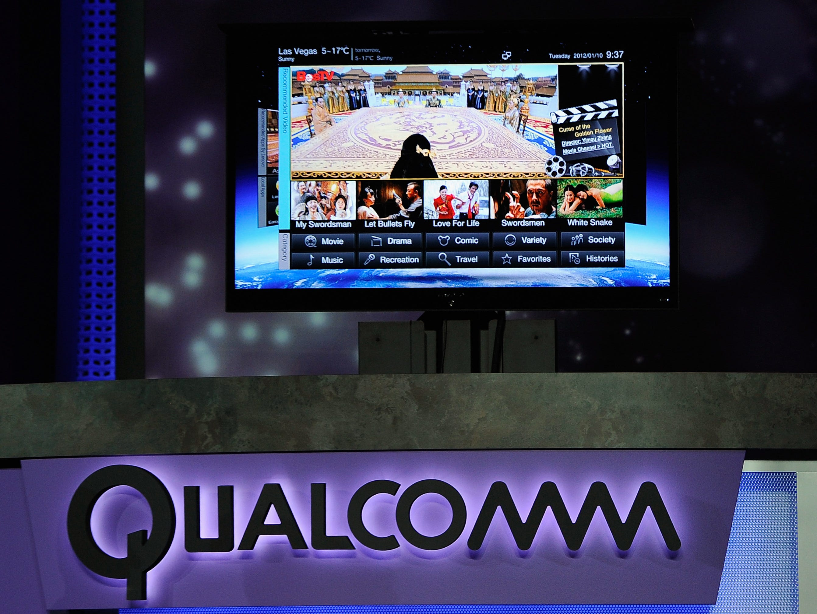 The new Lenovo television is shown during a presentation by Qualcomm at CES in 2012.