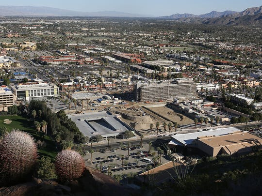 An aerial view of downtown Palm Springs which is a popular place for film and photo shoots.