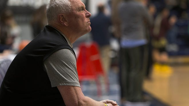St Anthony's Coach Bob Hurley. Ranney School vs St Anthony  in 2016 Boardwalk Hoop Group Showcase at Brookdale Community College on January 10, 2017.
