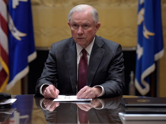 Attorney General Jeff Sessions holds a meeting with the heads of federal law enforcement components at the Department of Justice in Washington on Thursday.