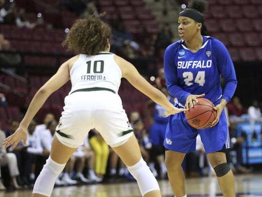 Buffalo's Cierra Dillard looks for an opening in the defense as South Florida's Laura Ferreira defends during a first-round game at the NCAA women's college basketball tournament on Saturday in Tallahassee, Florida last spring. Dillard helped UB reach the Sweet 16.