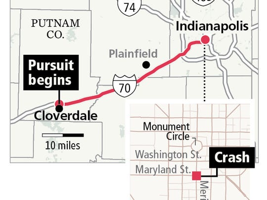 Chase route from Putnam County to Downtown Indianapolis.