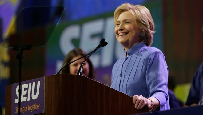 Democratic presidential candidate Hillary Clinton speaks to more than 3,000 Service Employees International Union (SEIU) members at the union's 2016 International Convention, Monday, May 23, 2016, in Detroit. (AP Photo/Carlos Osorio)