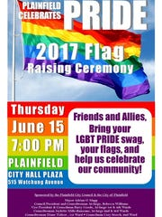 Plainfield will host an LGBT flag day ceremony on Thursday