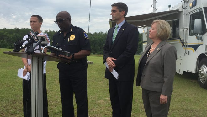 Authorities release new information in the kidnapping of 7-year-old Bryan Williamson of Madison. From left are Bryan's cousin, Shawn Schreiber, Madison Police Chief Ken Moore, FDLE Special Agent In Charge Mark Perez and FBI Special Agent in Charge Michelle S. Klimt.