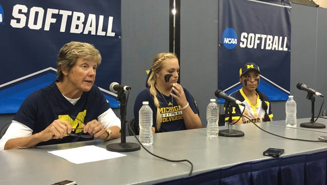 Michigan coach Carol Hutchins, pitcher Megan Betsa and infielder Sierra Romero talk about the team's 8-0 win Friday, May 20, 2016.