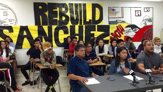 Simon Sanchez High School teacher Andri Baynum, right, says during Tuesday's press conference that after six years of failed procurement process, it's time the government finally award a contract to rebuild the Yigo campus.
