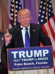 Republican Presidential frontrunner Donald Trump speaks on Super Tuesday, March 1, 2016, to the media at his Mar-A-Lago Club in Palm Beach, Fla.