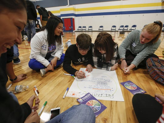 High school students brainstorm during a Sources of Strength training session at the Boys and Girls Club of the Fox Valley Thursday, Nov. 9, 2017, in Appleton, Wis. Josh Clark/USA TODAY NETWORK-Wisconsin