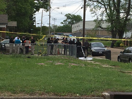 The scene of a homicide in Jackson, Miss.