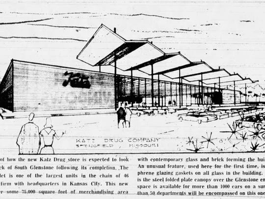 You can still the iconic accordion shape of the original Katz store at what is now CVS on Glenstone Avenue. This rendering was published with this story in 1961.
