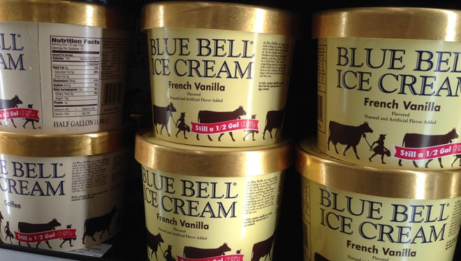 FILE - In this April 10, 2015, file photo, Blue Bell ice cream rests on a grocery store shelf in Lawrence, Kan. Texas-based Blue Bell Creameries issued a voluntary recall Monday, April 20, 2015, for all of its products on the market after two samples of chocolate chip cookie dough ice cream tested positive for listeriosis. (AP Photo/Orlin Wagner, File)
