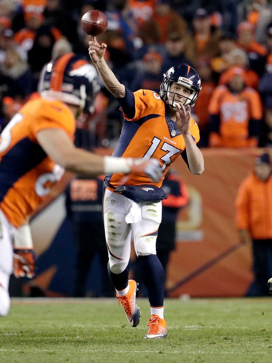 Denver Broncos quarterback Trevor Siemian (13) throws against the Kansas City Chiefs during the first half of an NFL football game, Sunday, Nov. 27, 2016, in Denver. (AP Photo/Jack Dempsey)