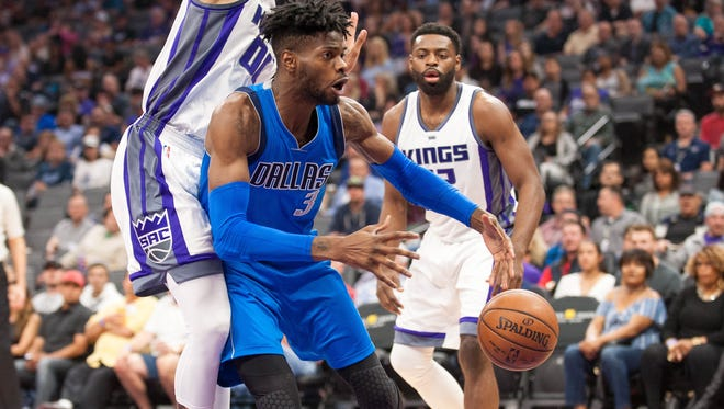 Dallas Mavericks forward Nerlens Noel (3) loses control of the ball under the Sacramento Kings basket during the first quarter at Golden 1 Center.