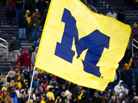 A Michigan flag at a game against Indiana in Ann Arbor.