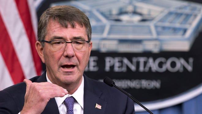 Defense Secretary Ash Carter speaks to reporters at the Pentagon on Dec. 11, 2015.