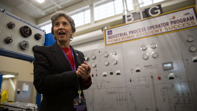 Barbara Wickman, the new dean of San Juan College's School of Energy provides a tour of her school on Feb. 14 in Farmington.