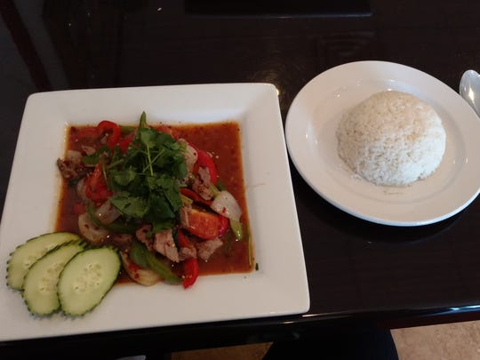 The Thai Pepper Steak at Mekong Thai is divine. You can   ask for the range of spice, from 1 to 10.