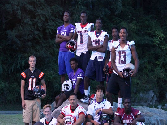 The Super 11 for 2014 includes, clockwise from left, Alex Parkinson, Mamaroneck; Corey Holder, New Rochelle; Jonathan Forrest, New Rochelle; Gavin Heslop, Stepinac; Damarcus Miller, Stepinac; Brandon Coleman, Stepinac; Qaadir Sheppard, Iona Prep; Adonis Alcime, Nyack; Ryan Lee, John Jay; Eric Favors, North Rockland; and Andrew Livingston, Rye, photographed Sept. 2, 2014.