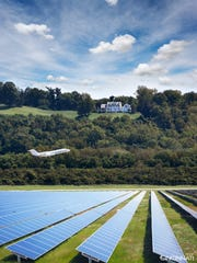 A photo illustration, created by the city of Cincinnati, of solar panels at Lunken Airport.