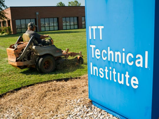 Former ITT Technical Institute associate dean Jerry Cotner, of Mt. Vernon, mows the lawn at the ITT Tech campus in Newburgh, Tuesday, Sept. 6, 2016. Cotner was laid off from ITT Tech in 2012. ITT Tech closed its doors Tuesday following federal sanctions.