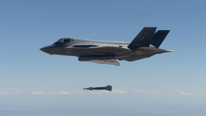 An F-35 Lightning II from the 61st Fighter Squadron deploys a GBU-12 500-pound laser-guided bomb for the first time in the squadron's history on April 25, 2016, at the Barry M. Goldwater Range in Gila Bend. Three F-35s successfully delivered six inert GBU-12s during the practice sortie, making the 61st FS the second squadron at Luke Air Force Base to drop bombs from the F-35.