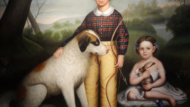 """Portrait of Two Children with Dog and Rabbit"" by William Stamms Shackelford will be on exhibit at the Customs House Museum through July 31."