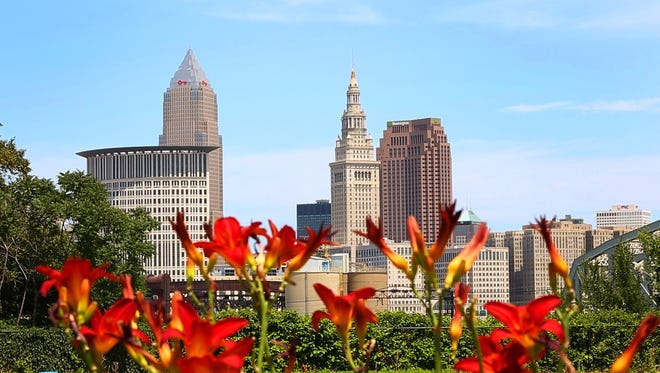 Flowers spring up as the city is in the background during the 2016 Republican National Convention.