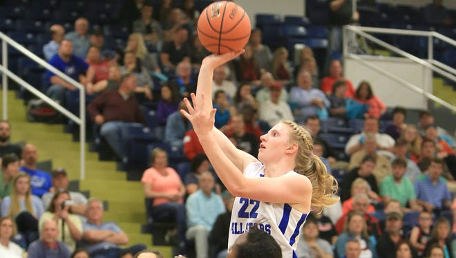 Hayesville's Amanda Thompson takes a shot in last month's Blue-White All-Star game in Skyland.