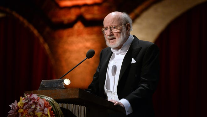 Nobel Prize in Physiology or Medicine laureate Professor William C. Campbell speaks during the 2015 Nobel Banquet at the Stockholm City Hall, in Stockholm, Thursday, Dec. 10, 2015. (Fredrik Sandberg /TT via AP)