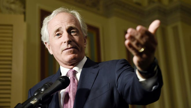 July 16, 2015: Senate Foreign Relations Committee Chairman Sen. Bob Corker, R-Tenn., speaks to reporters on Capitol Hill following a meeting with Vice President Joe Biden and other committee members to discuss the nuclear agreement with Iran.