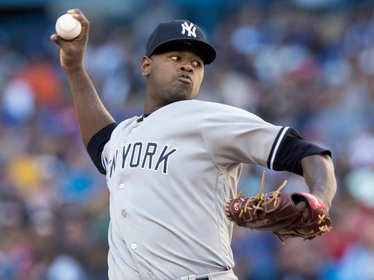 New York Yankees starting pitcher Luis Severino throws against the Toronto Blue Jays in the sixth inning of a baseball game in Toronto on Saturday, July 7, 2018.