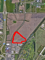 An approximate outline of the 35-acre plot of land