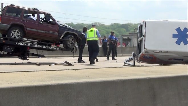 A three vehicle crash on Interstate 55 in Jackson Tuesday involved an ambulance.
