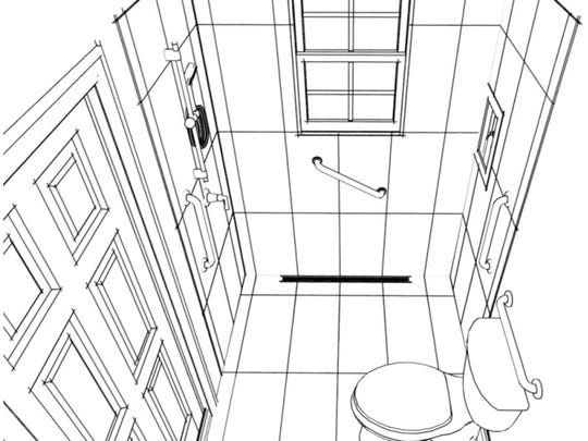 Bathroom design with roll-in shower